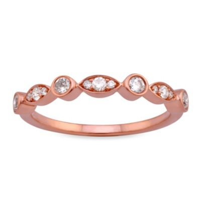Violet and Sienna 14K Rose Gold .29 cttw Diamond Mixed Bezel Size 6 Ring