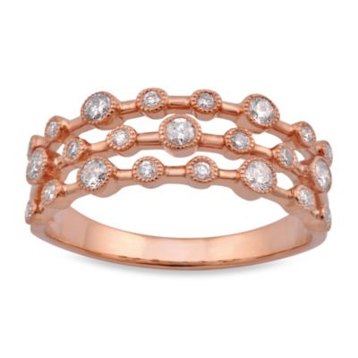 Violet and Sienna 14K Rose Gold 3-Row .37 cttw Diamond Size 6 Ring