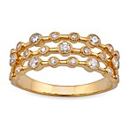 Violet and Sienna 14K Yellow Gold 3-Row Diamond Ring
