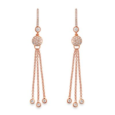 Violet and Sienna 14K Rose Gold & .65 cttw Diamond Dangling Drop Earrings