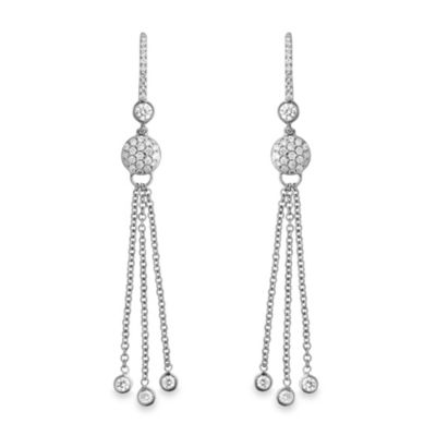 Violet and Sienna 14K White Gold .65 cttw Diamond Dangling Drop Earrings