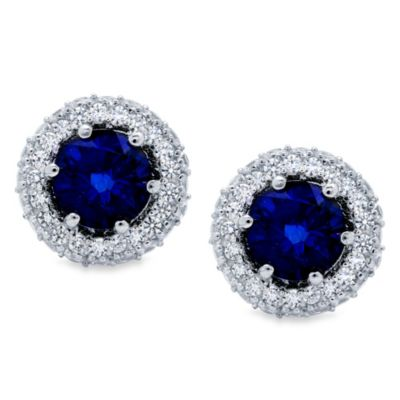 CRISLU Round Pave Sapphire Colored and Cubic Zirconia Earrings