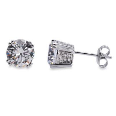 CRISLU Cubic Zirconia Stud Earrings in Platinum Over Sterling Silver