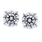 CRISLU Cubic Zirconia Stud Earrings in Platinum Over Sterling Silver