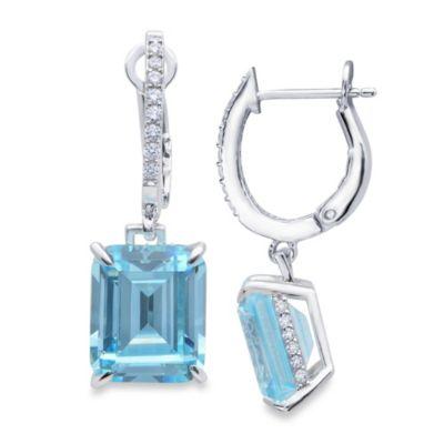 CRISLU Aquamarine Colored Drop and Cubic Zirconia Earrings