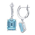 CRISLU Aquamarine Colored Drop and Cubic Zirconia Earrings