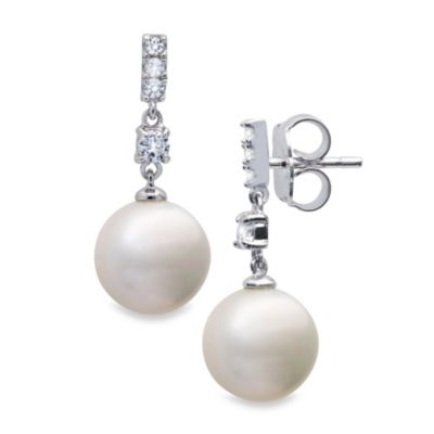 CRISLU Freshwater Cultured Pearl and Cubic Zirconia Multi Square Drop Earrings