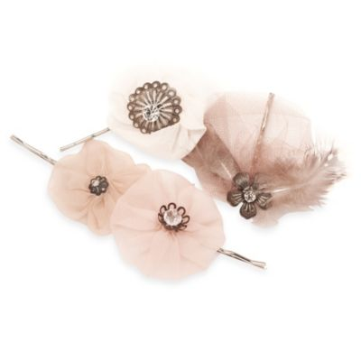 Bloom Bazaar Amorette Silk Flower Bobby Pins (Set of 4)