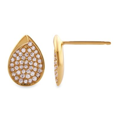 Violet and Sienna 14K Yellow Gold Pave 0.25 cttw Diamond Teardrop Earrings