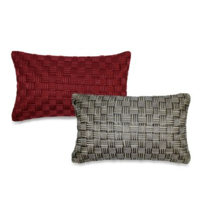 Basket Weave Cord Oblong Throw Pillow in Rust