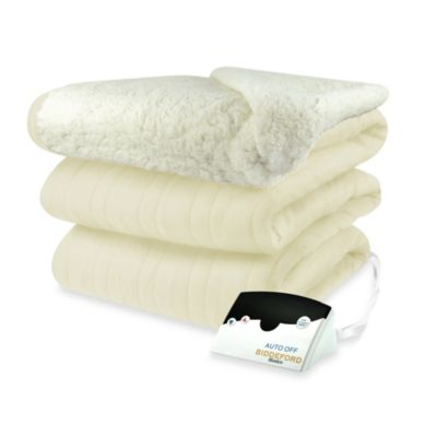 Biddeford Blankets® Comfort Knit Heated Full Blanket with Sherpa Back in Natural
