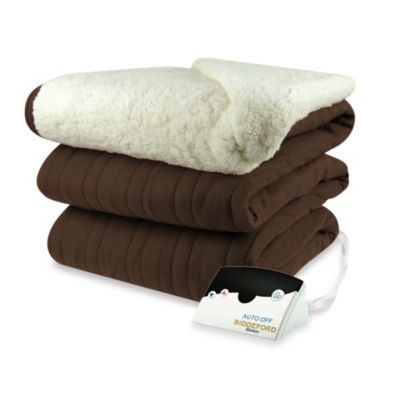 Biddeford Blankets® Comfort Knit Heated King Blanket with Sherpa Back in Chocolate
