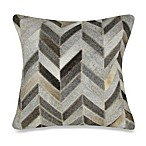 Herring Bone Patched Leather Square Decorative Pillow
