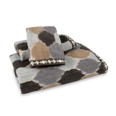 Tangier Jacquard Hand Towel in Grey/Soft Brown