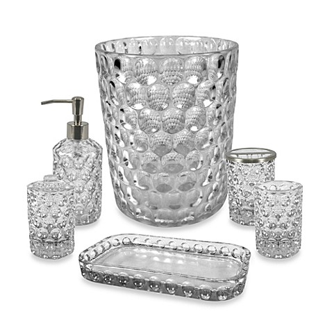 Crystal ball glass bathroom accessories in clear bed for Clear glass bathroom accessories