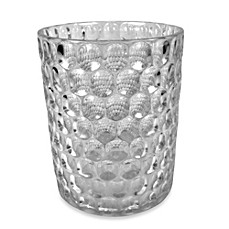 Crystal ball glass bathroom wastebasket in clear for Clear glass bathroom accessories
