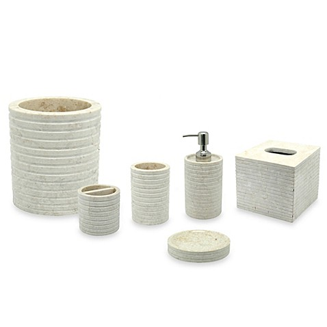 Jakarta marble bathroom accessories bed bath beyond for Marble toilet accessories