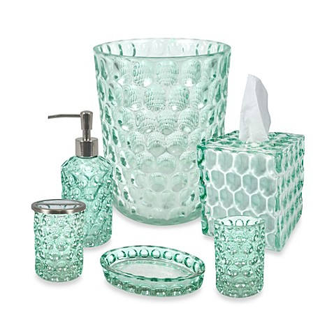 Crystal ball glass bathroom accessories in aruba bed for Blue glass bathroom accessories