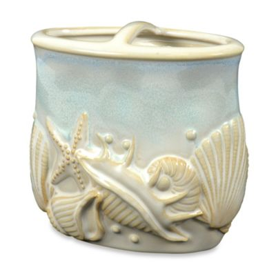 Shelly Ceramic Toothbrush Holder in Ocean Blue