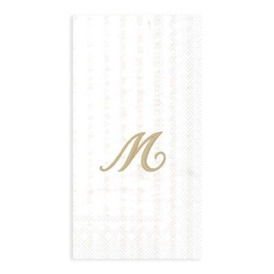 """Paper Monogram Letter """"M"""" Guest Towels (16-Pack)"""