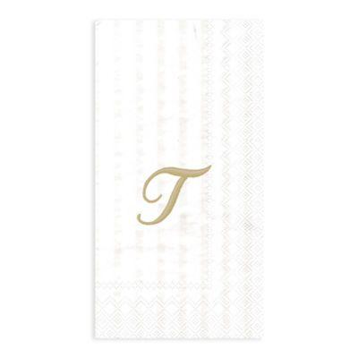 """Paper Monogram Letter """"T"""" Guest Towels (16-Pack)"""