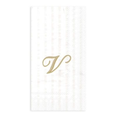 """Paper Monogram Letter """"V"""" Guest Towels (16-Pack)"""