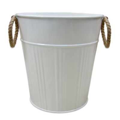 Asbury Metal Wastebasket in White