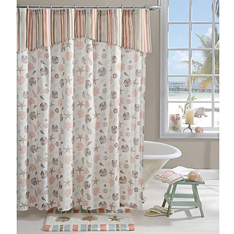 aruba 72 inch x 72 inch shower curtain in coral bed bath