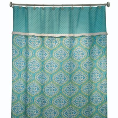 "Bardwil Linens Tangier 72"" x 72"" Shower Curtain in Turquoise"