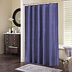 Chevi Mesh Jacquard Chevron Shower Curtain in Cobalt