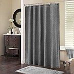 Chevi Mesh Jacquard Chevron Shower Curtain in Grey