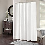 Chevi Mesh Jacquard Chevron Shower Curtain in White