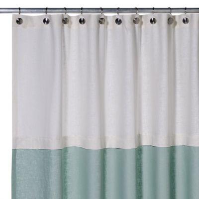 Soho 72-Inch x 75-Inch Linen Shower Curtain in Aqua