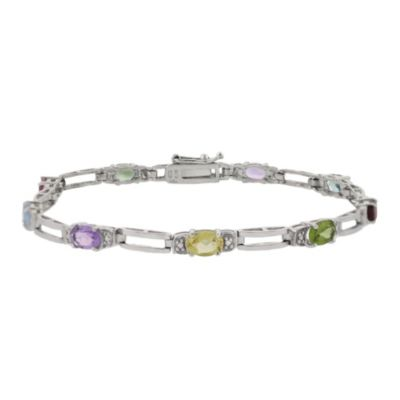 Sterling Silver 4.8 cttw Multi-Gemstone Oval Link Tennis Bracelet