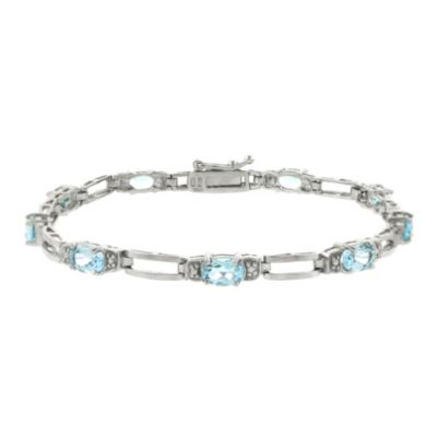 Sterling Silver 5.0 cttw Blue Topaz Oval Link Tennis Bracelet