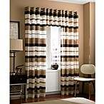 Zanzibar Grommet Window Curtain Panels and Valance in Chocolate
