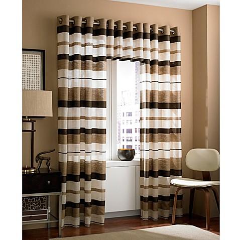 Zanzibar Grommet Window Curtain Valance In Chocolate Bed