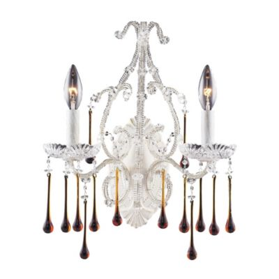 ELK Lighting Opulence 2-Light Wall Bracket in Antique White and Amber Crystal