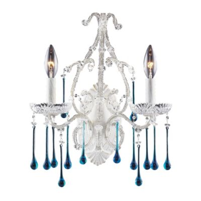 ELK Lighting Opulence 2-Light Wall Bracket in Antique White and Aqua Crystal