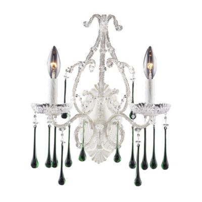 ELK Lighting Opulence 2-Light Wall Bracket in Antique White and Lime Crystal