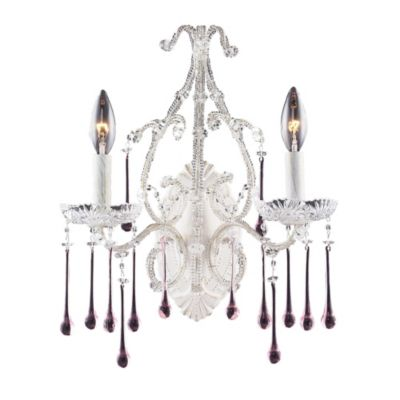 ELK Lighting Opulence 2-Light Wall Bracket in Antique White and Rose Crystal