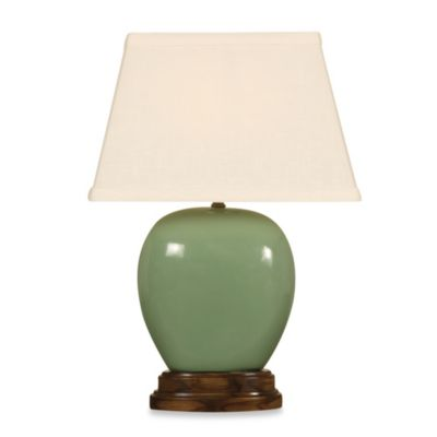 Ceramic Table Lamp in Moss Green
