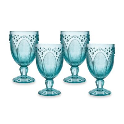 Edie Rose by Rachel Bilson Turquoise Goblet Glasses (Set of 4)