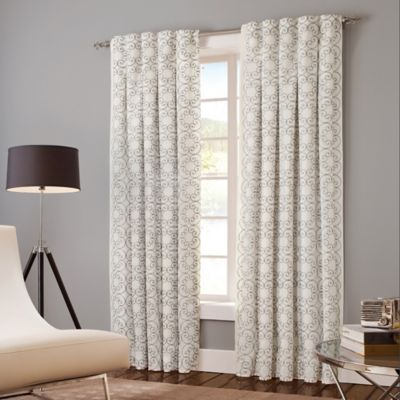 Designer's Select Claudia 120-Inch Back Tab Window Curtain Panel in White/Grey