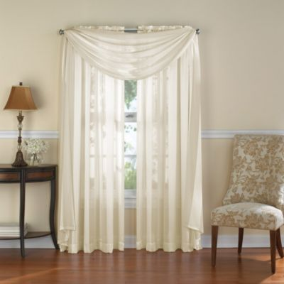 Venetian Stripe Sheer Window Scarf Valance in Ivory