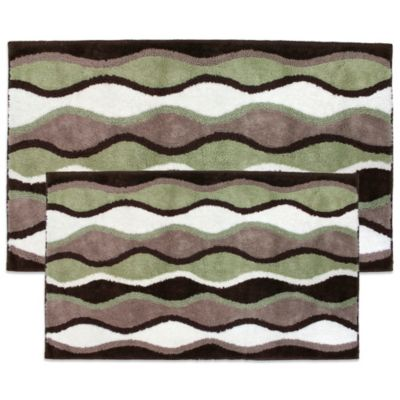 Ultra Spa by Park B. Smith® Magic Plush Ripple Bath Rugs in Celadon