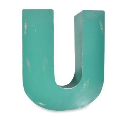 "Sleeping Partners Metal Letter ""U"" Wall Art in Turquoise"