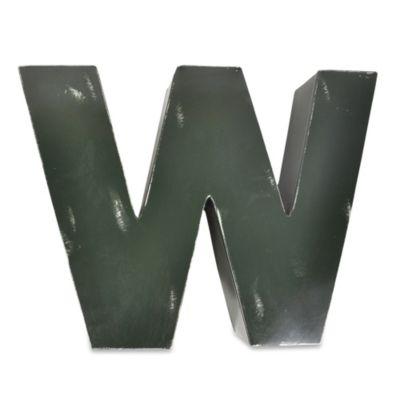 """Sleeping Partners Metal Letter """"W"""" Wall Art in Green"""