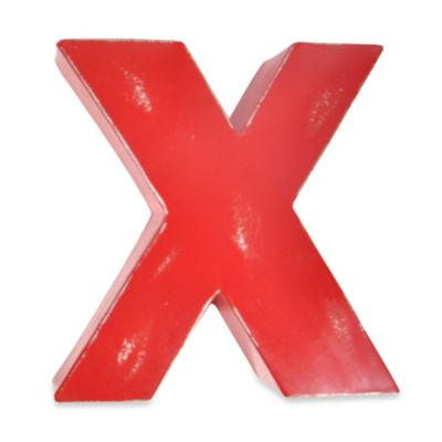 "Sleeping Partners Metal Letter ""X"" Wall Art in Red"