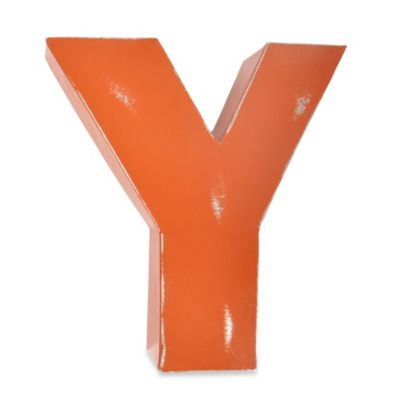 "Sleeping Partners Metal Letter ""Y"" Wall Art in Orange"